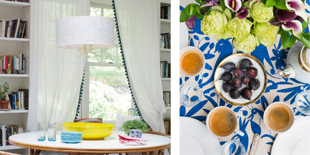 Otomi Fabric Examples - Pato Otomi Pendant by Jane Gray at Stray Dog Designs and a tablecloth by St. Frank featured on vogue.com