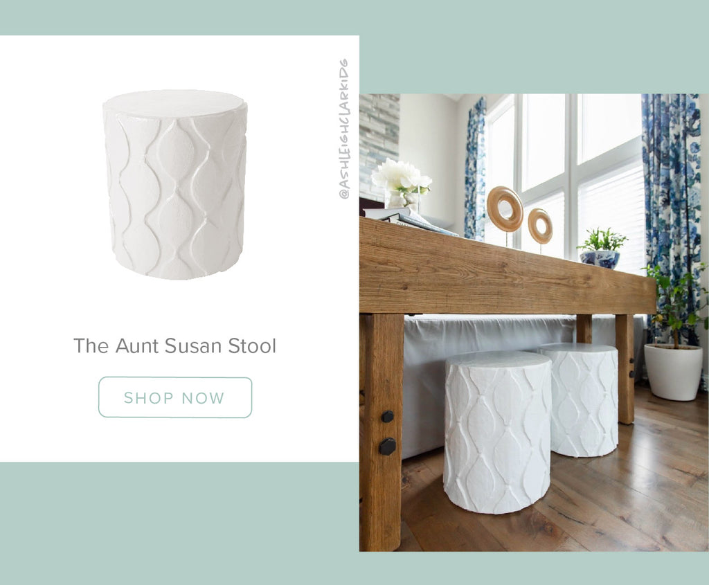 Stray Dog Designs Aunt Susan Stools in a living room designed by Ashleigh Clark Design