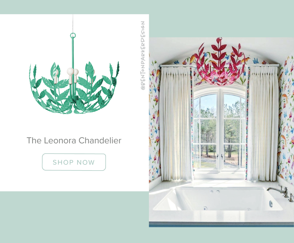 Stray Dog Designs Leonora Chandelier in a bathroom designed by Benton Parker Designs