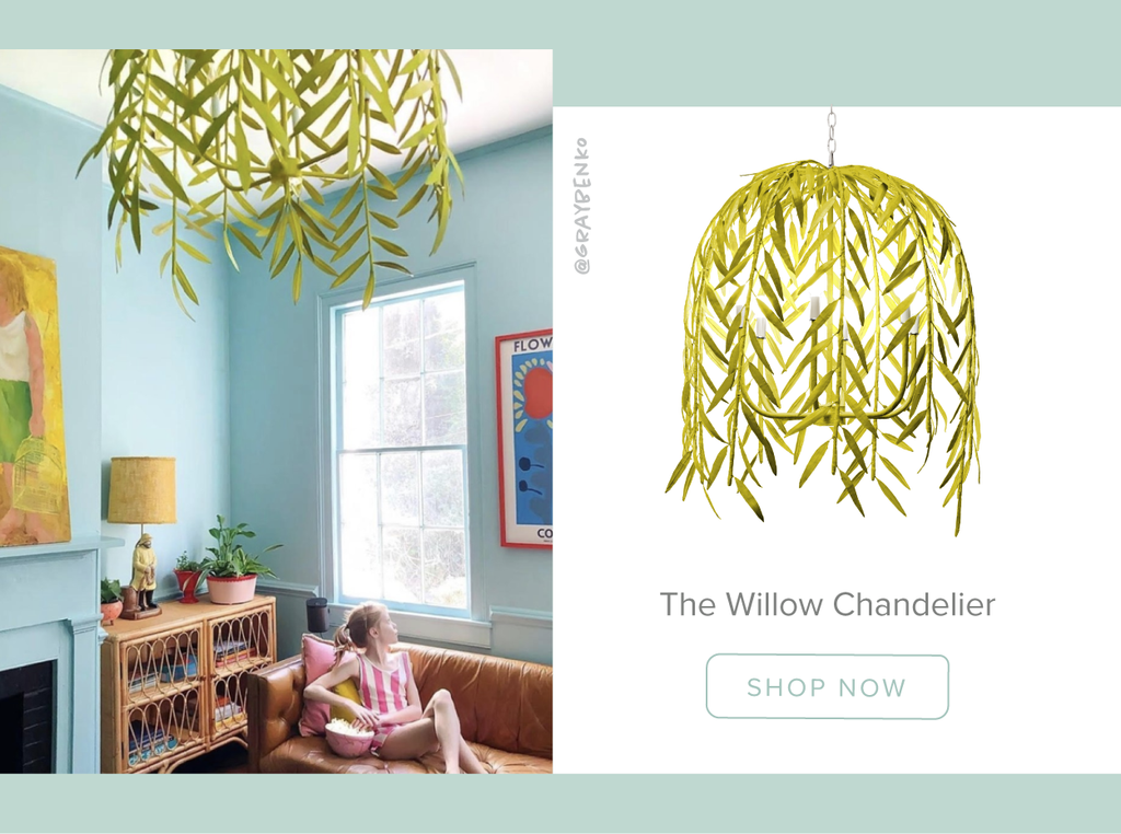 Stray Dog Designs Willow Chandelier in a living room designed by Gray Benko