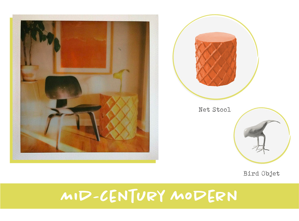 Stray Dog Designs Net Stool and Bird Objet in Mid-Century Modern Interior Design Style
