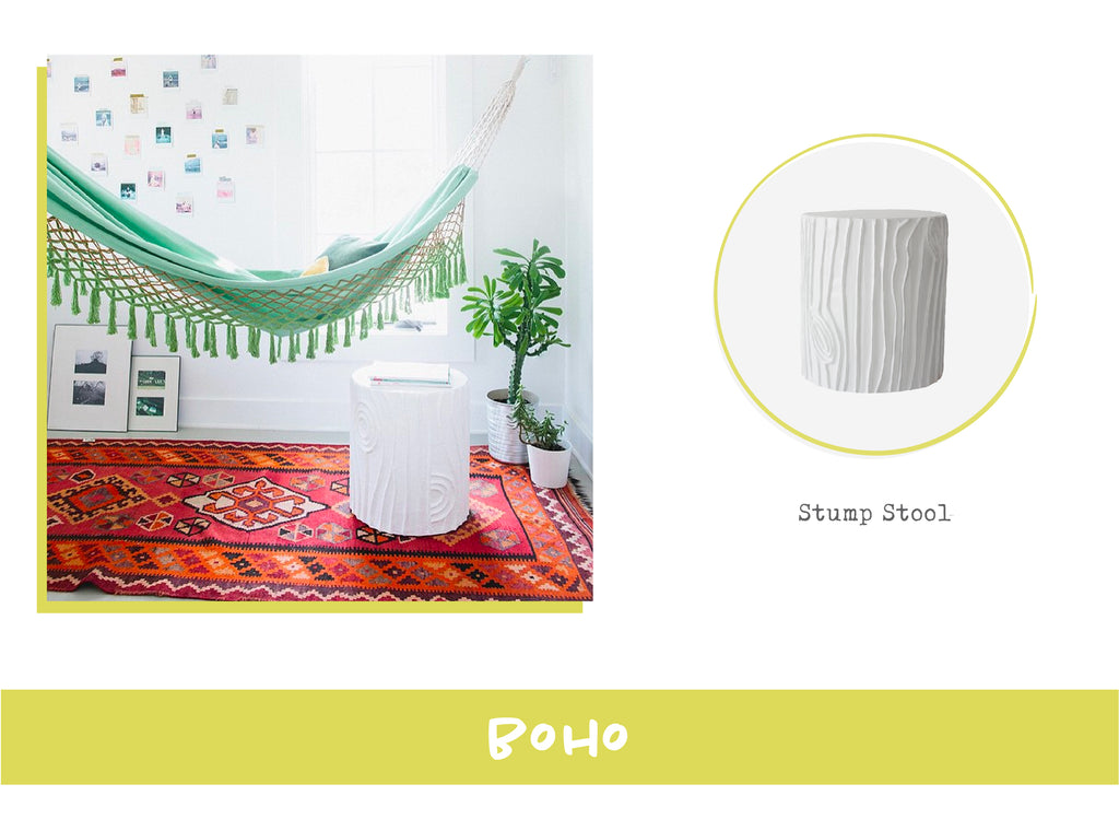 Stray Dog Designs Stump Stool in Bohemian Interior Design Style