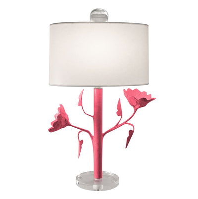Jarmin Table Lamp, pink papier mache light with flowers, handmade in Mexico