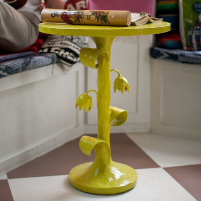 Tulip Table in Chartreuse Papier Mache side table
