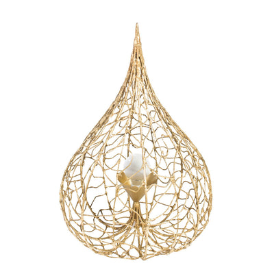 Tida Table Lamp, gold leaf tear drop Physalis design