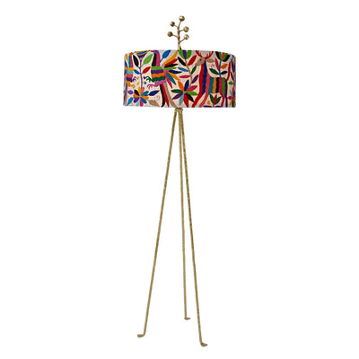 floor light with hand embroidered Otomi Indian shade and iron base