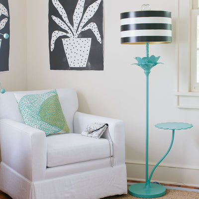 Tilda Floor Lamp with striped tole shade and papier mache flower stalk