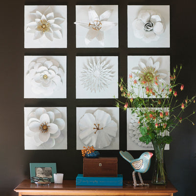 Flower Art Plaques in White and Gold