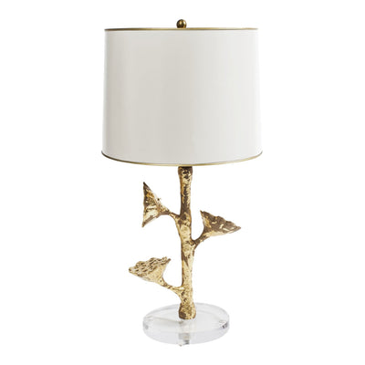 Lotus Pod Table Lamp, papier mache with gold leaf and white metal shade
