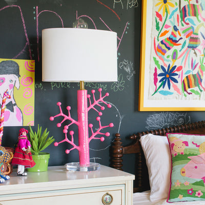 pink paper mache light, Ava Lamp in playful bedroom