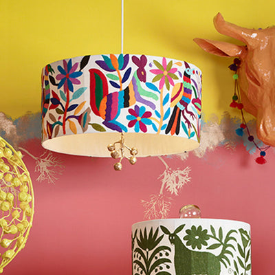 paulina pendant light with hand embroidered Otomi shade in bright colors