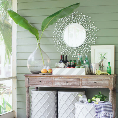 Sue Wright Mirror in beach house, white papier mache berry burst .