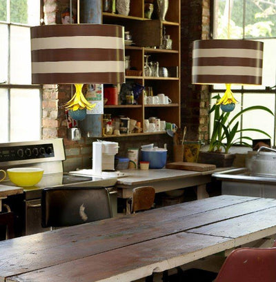 Drum Pendants in kitchen , brown and white striped