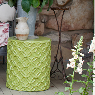 Flower stool/accent table handmade of papier mache