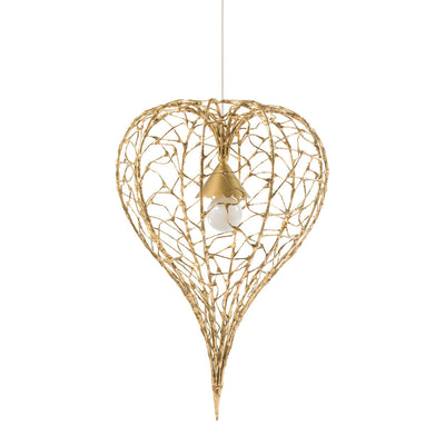 Physalis Pendant, gold tear drop shaped ceiling light