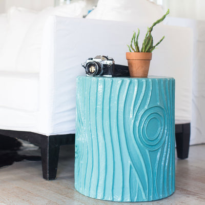 bold blue faux bois stool or accent table