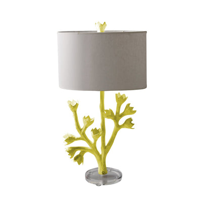 Chartreuse papier mache tulip tree table lamp