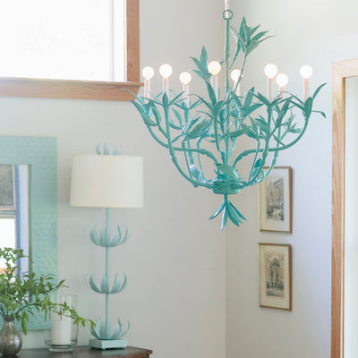 bamboo motif chandelier, the Serena is handmade with paper mache