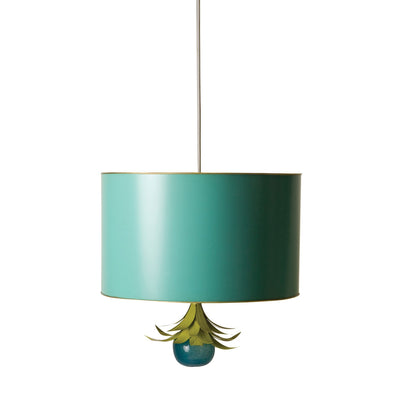 Drum Pendant in aqua , handmade tole ceiling light