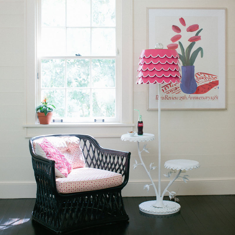 Dahlia Cluster Floor Lamp with tables and tole shade in pink and white