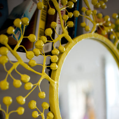 Sue Wright Mirror in chartreuse with hand made papier mache berry design.