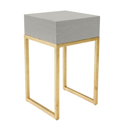 classic gray and gold leafed side table handmade for stray dog designs.