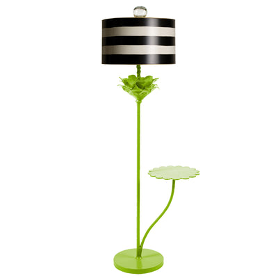 Green flower floor lamp with black and white stripe shade. Stray Dog.