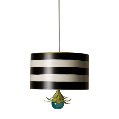 drum shaped hanging pendant light in black and white stripes