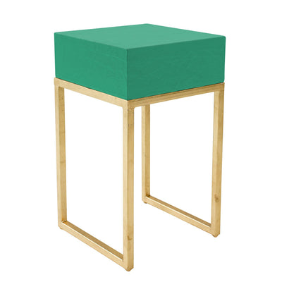 aqua and gold tristan side table by stray dog designs