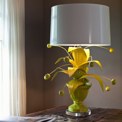 Crunchberry Lamp in chartreuse, papier mache light by Stray Dog