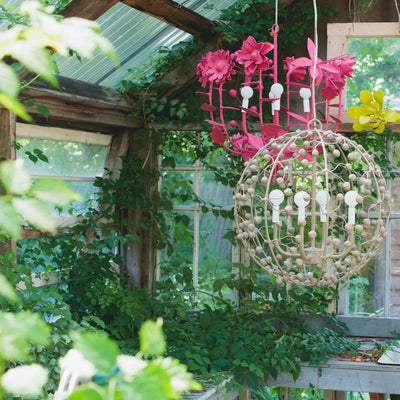 Terrell Swan Chandelier in bright oink papier mache with beautiful flowers