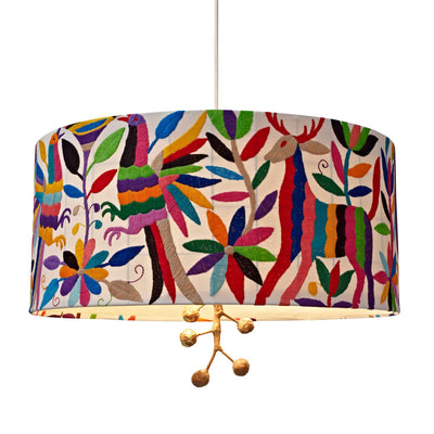 paulina pendant Otomi shade with embroidered flora and fauna
