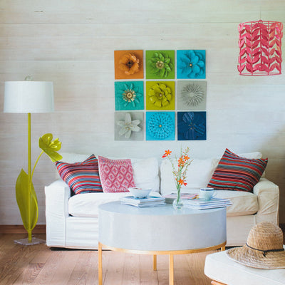 Zinnia Flower Wall Tile in bright living room