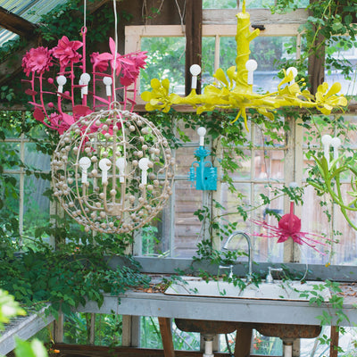 Twiggy Chandelier and wild floral papier mache hanging lights