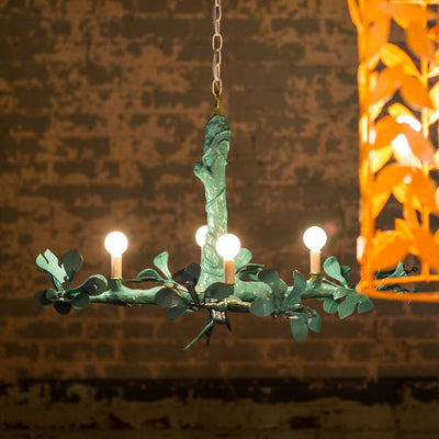 Twiggy Faux Bois Chandelier in aqua for Stray Dog Designs