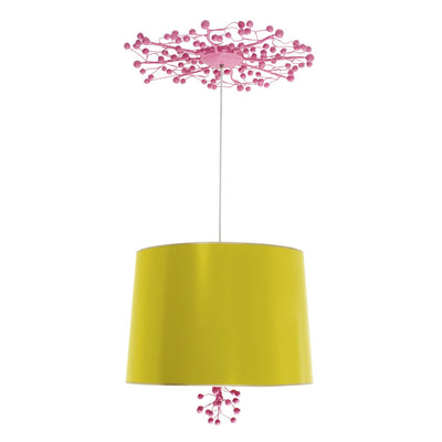 marsi pendant in chartreuse with pink berry canopy and finial
