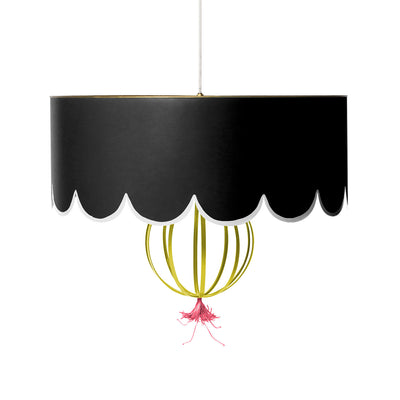 black sally tole scallop pendant light , handmade for stray dog designs