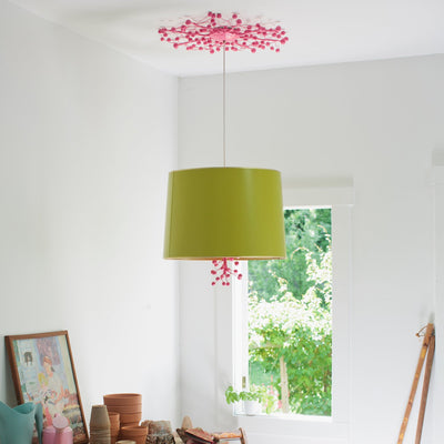 marsi Pendant light pink and green papier mache and tole