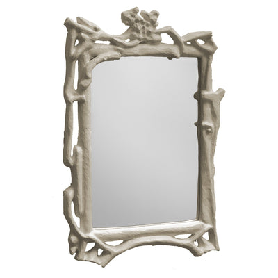 Magalie Mirror by Stray Dog Designs, papier mache faux bois.