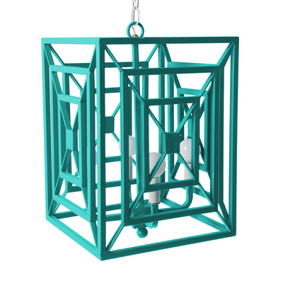 Jay iron hanging light in bright blue for Stray Dog Designs