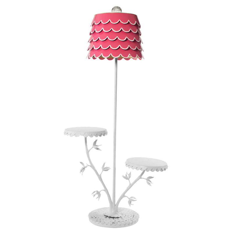 Dahlia Inspired Floor  Light with 2 tables and tole flouncy shade