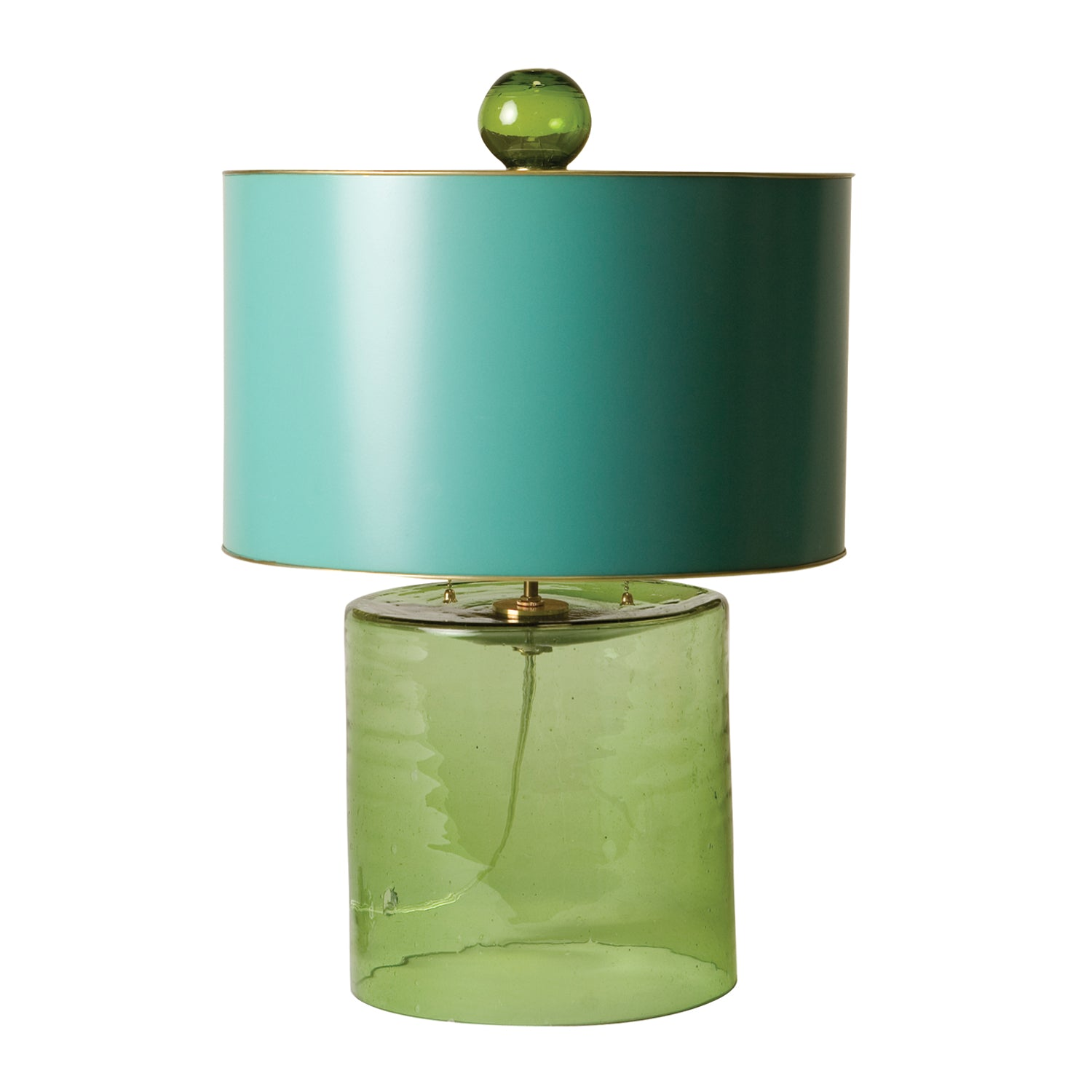 elisabeth glass lamp, green lamp with aqua tole shade