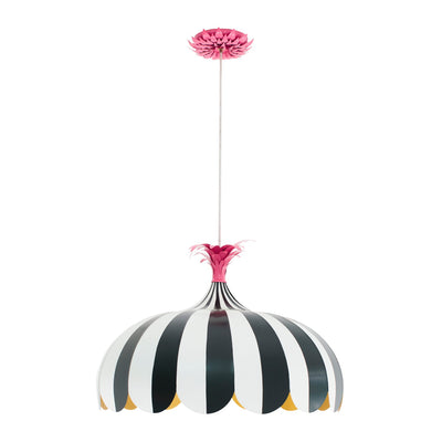 Lala Pendant, black and white striped tole with scallop skirt and pink frond