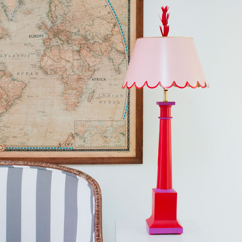 Addie Table Lamp by Stray Dog Designs, tole, pink and red