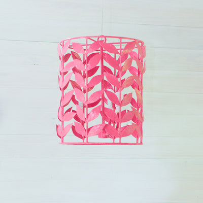 Adelaide Pink Papier Mache Leafy Lantern by Stray Dog Designs