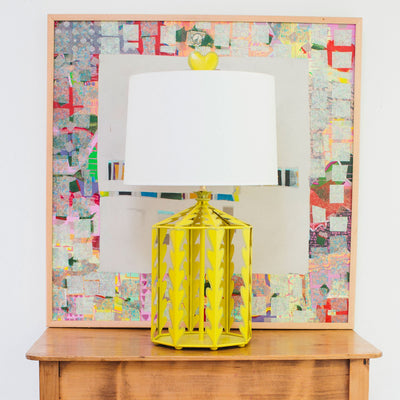 Alice Table Lamp in chartreuse with heart finial