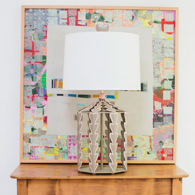 Alice Table Lamp in fun room, kingsport gray and light pink