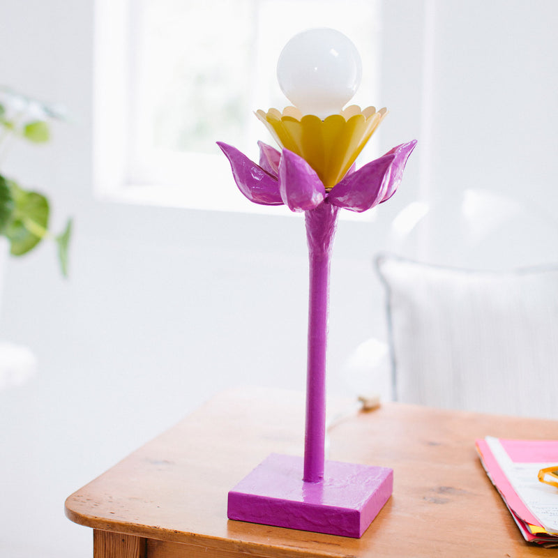 purple papier mache exposed bulb table lamp with flower design