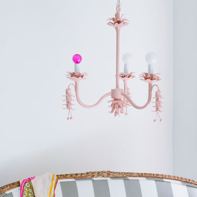 light pink paper mache chandelier, Coralie by Stray Dog Designs