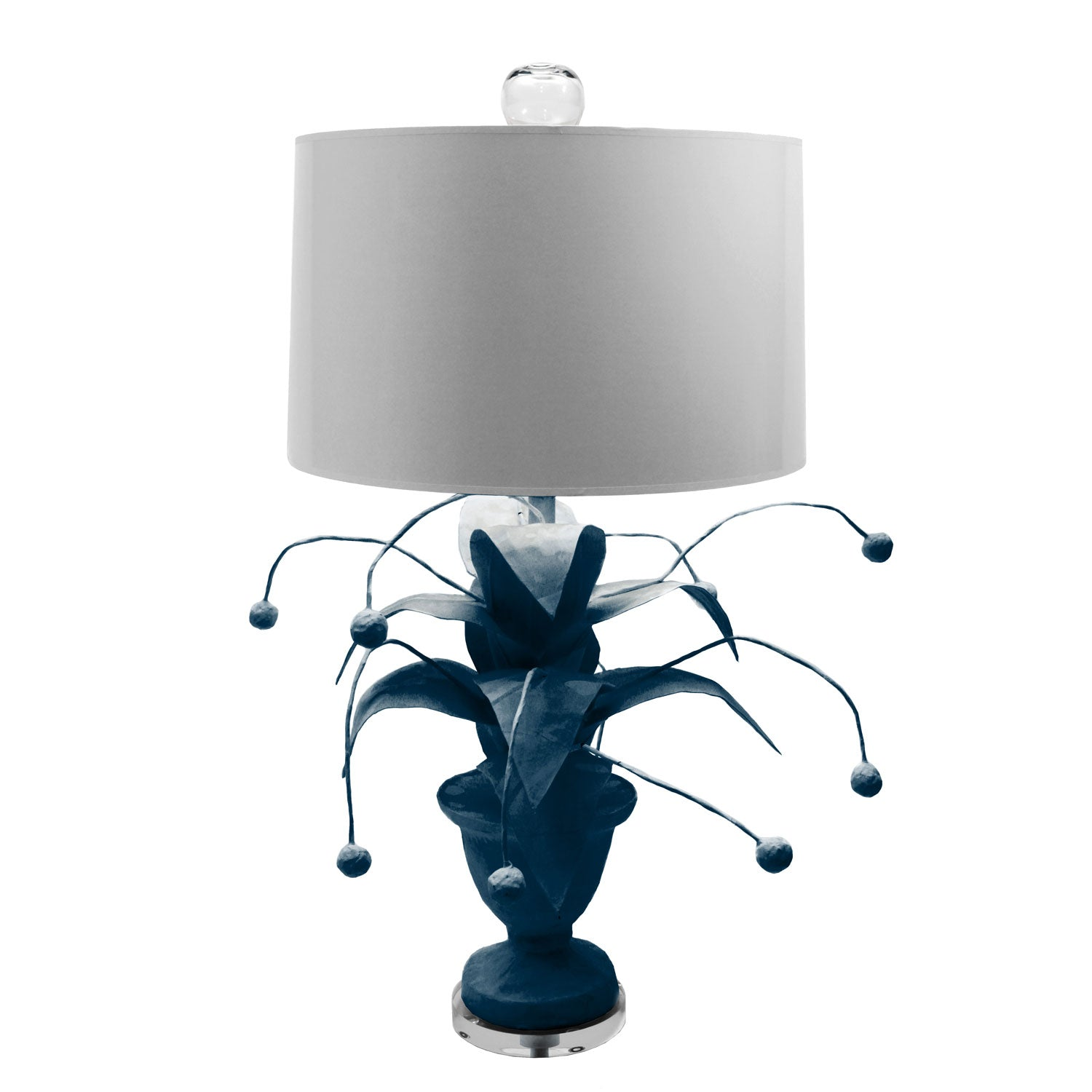 navy blue papier mache plant lamp with berries, Crunchberry